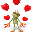 Frog with hearts 3d — Stock Photo #4370902