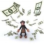 Fun monkey with money — Stock Photo #4388173