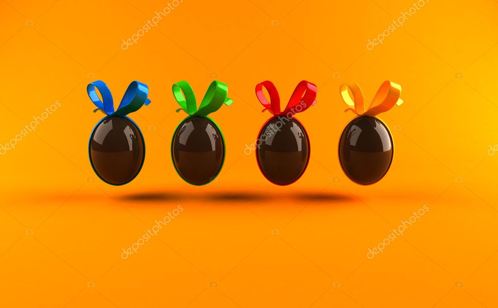 Easter chocolate egg  3d illustration — Stock Photo #4385248