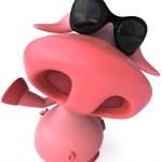 Happy Pig in sun glasses 3d illustration — Stock Photo