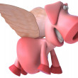 Happy flying Pig 3d illustration — Stock Photo #4392637
