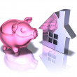 Piggy bank real estate - Foto Stock