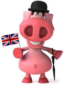 Happy english Pig 3d illustration — Zdjęcie stockowe