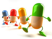 Ilustración 3d de la píldora de la felicidad — Foto de Stock