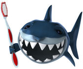 Shark with toothbrush 3d illustration — Stock Photo