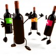 Circle Of 3d Wine Bottle Characters Jumping - Version 2 by.
