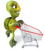 Turtle with shopping cart 3d illustration — Stock Photo