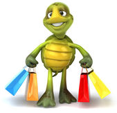 Turtle with shopping bags 3d illustration — Stock Photo