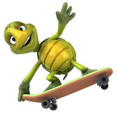 Turtle on a skateboard 3d illustration — Stock Photo