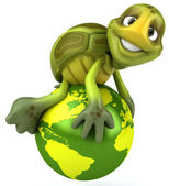 Turtle on the earth 3d illustration — Stock Photo