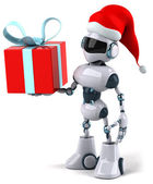 Robot santa with a gift 3d illustration — Stock Photo