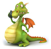 Fun dragon with cellphone 3d illustration — Stock Photo