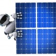 Robot and solar panels 3d illustration — Стоковая фотография
