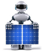 Robot and solar panels 3d illustration — Stock Photo
