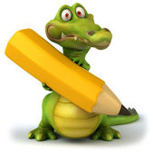 Crocodile with crayon 3d illustration — Stock Photo