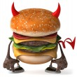 Evil Hamburger  3d illustration — Stock Photo
