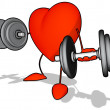 Heart with weights — 图库照片