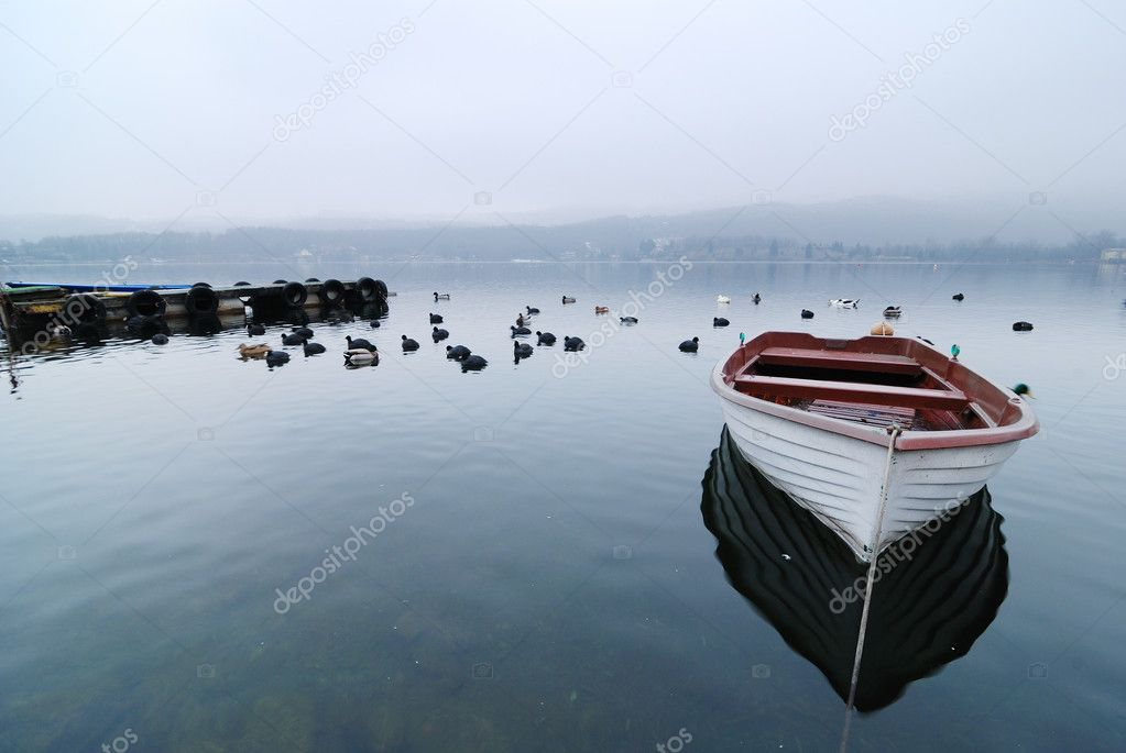 Boat, big lake, Turin Italy  Stock Photo #4425947