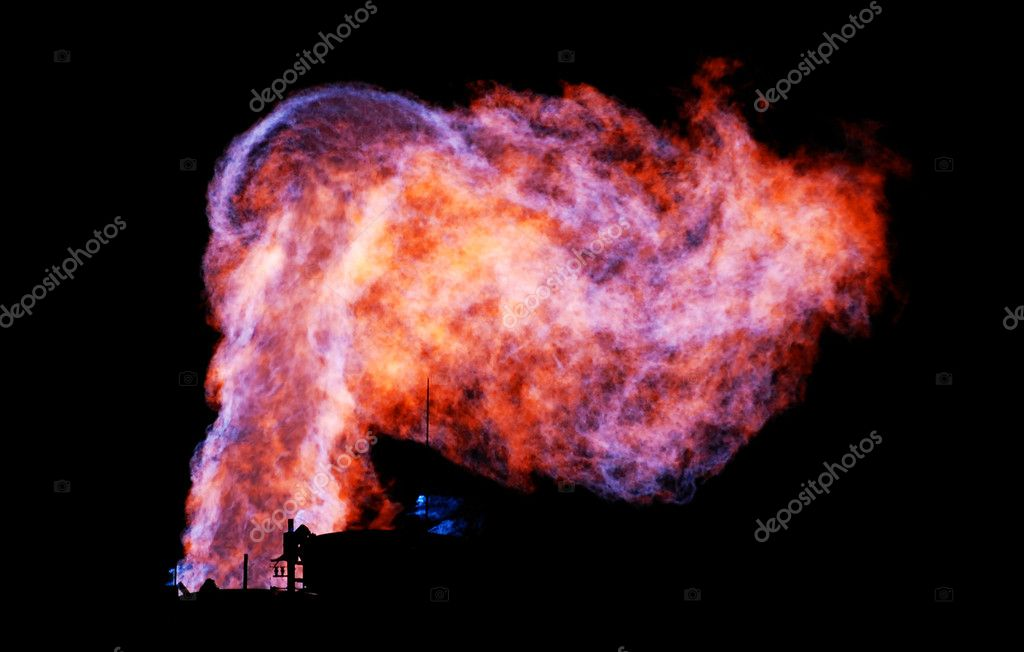 Burning natural gas in a black background — Stock Photo #4483150