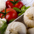 Vegetables in a white basket — Stockfoto