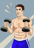 Athletic man with dumbbells — Stock Vector