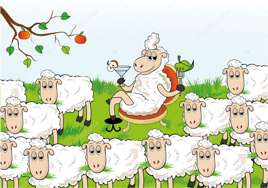 Enterprising sheep separated from the herd. Abnormal behavior. — Stock Vector #5237289