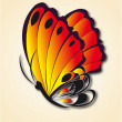 Beautiful fire-colored butterfly on reflecting surface — Imagens vectoriais em stock