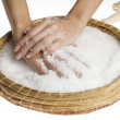 Scrub hands with salt — Stock Photo
