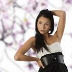 Black and white asian girl — Stock Photo