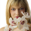 The eyes and orchid — Stock Photo