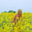 Blond with pink t-shirt in yellow field — Stock Photo