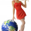 Blond pinup in red — Stock Photo