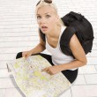 Expressive blond tourist - Foto Stock