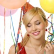 Girl between ballons and ribbons - Stock Photo