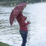 Umbrella in autumn — Stock Photo