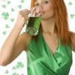Cute girl saint patrick - Stock Photo