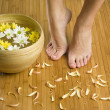 Feet and flower - Stock Photo