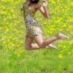 Jumping woman — Stock Photo