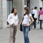 Girls chatting — Stock Photo