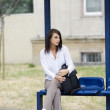 Waiting for a bus — Stock Photo