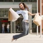 Jumping fo shopping — Stock Photo