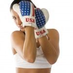 Постер, плакат: Boxing woman in guard