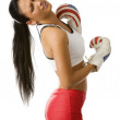 Boxing woman hited — Stock Photo #4703930