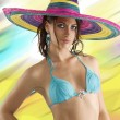 Summer girl with sombrero — Stock Photo