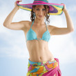 Summer girl with sombrero — Stock Photo #4704280
