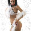 Sexy latina in white lingerie — Stock Photo