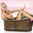 Pinup in bath with pink shoes — Stock Photo #4704904