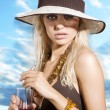 Hat girl with drink — Stock Photo #4704964