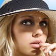 Hat girl with drink — Stock Photo #4704967