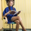 Reading under hairdryier — Stock Photo #4705351
